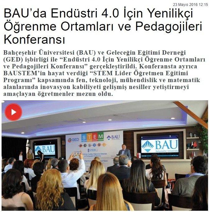 Endüstri 4.0 İçin Yenilikçi Öğrenme Ortamları ve Pedagojileri Konferansı