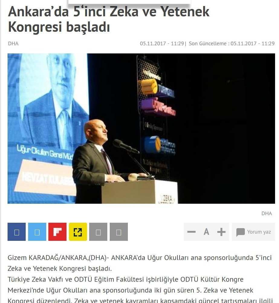 Ankara'da 5'inci Zeka ve Yetenek Kongresi başladı
