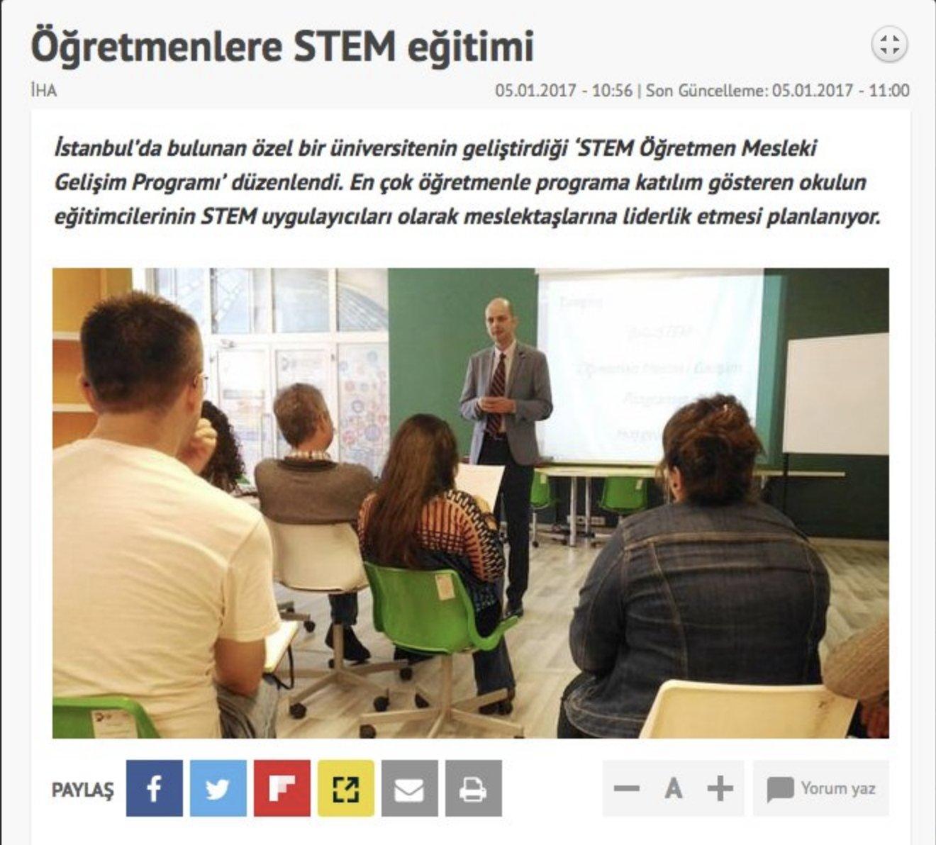 STM Bütünleşik Öğretmenlik Projesi ulusal medyada