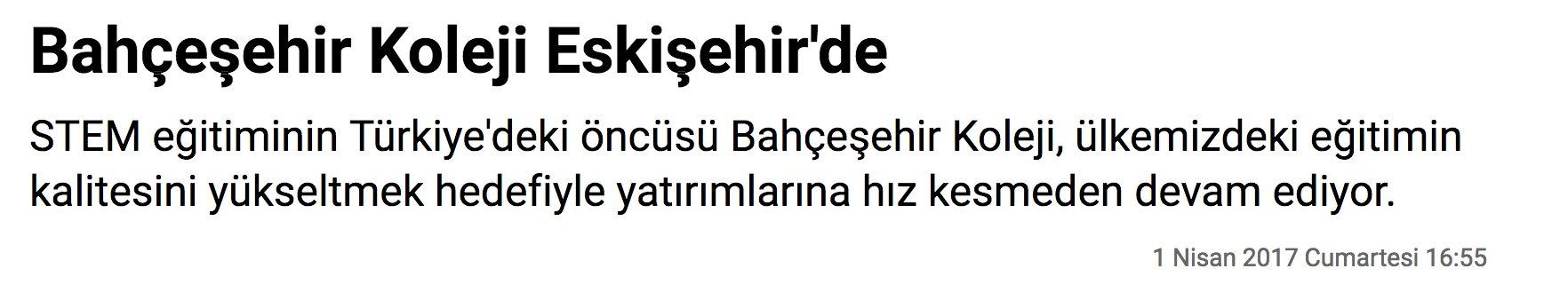Bahçeşehir Koleji Eskişehir'de