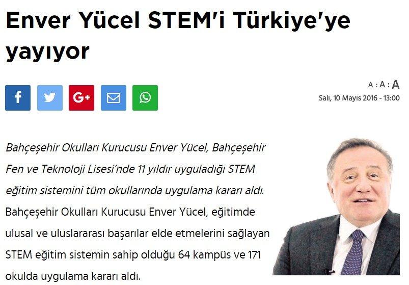 Enver Yücel STEM'i Türkiye'ye Yayıyor