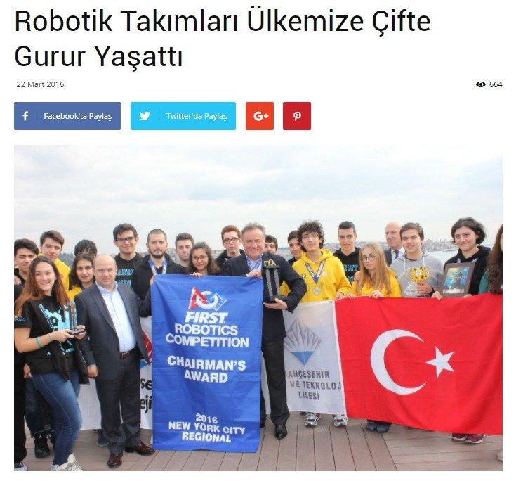 Robotik Takımları Ülkemize Çifte Gurur Yaşattı